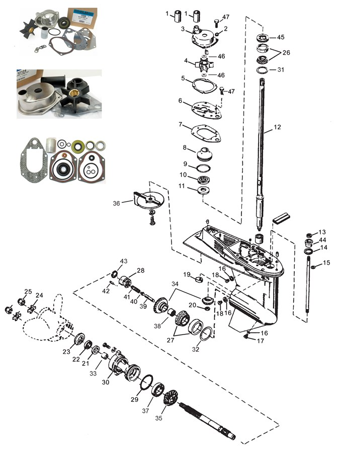 устройство редуктора лодочного мотора mercury 60